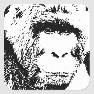 Black & White Gorilla Square Sticker