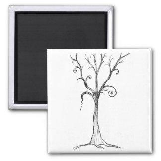 Black & White Gothic Tree Illustration 2 Inch Square Magnet