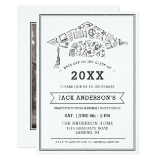 Black & White Graduation Cap Party Invite Photo