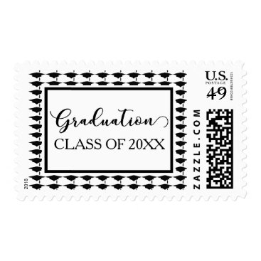 Beach Themed Black & White Graduation Cap Patterns 20XX Class Postage
