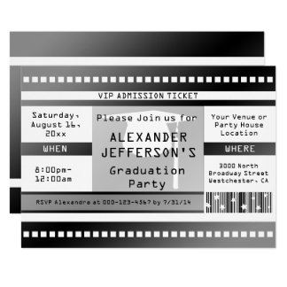 Black/White Graduation Party Admission Ticket Card