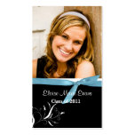 Black & White Graduation Rep card with blue ribbon Double-Sided Standard Business Cards (Pack Of 100)