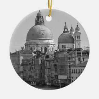 Black White Grand Canal Venice Italy Travel Ceramic Ornament