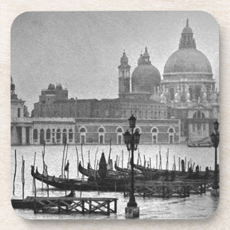 Black White Grand Canal Venice Italy Travel Drink Coaster