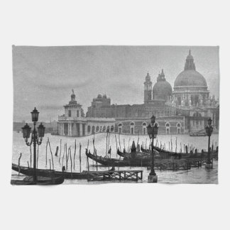 Black White Grand Canal Venice Italy Travel Hand Towel