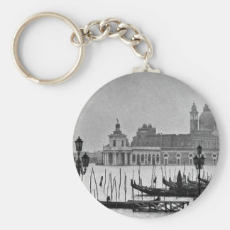 Black White Grand Canal Venice Italy Travel Keychain