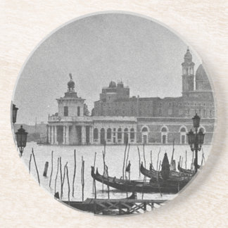Black White Grand Canal Venice Italy Travel Sandstone Coaster