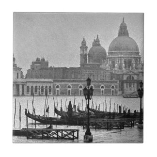 Black White Grand Canal Venice Italy Travel Tile