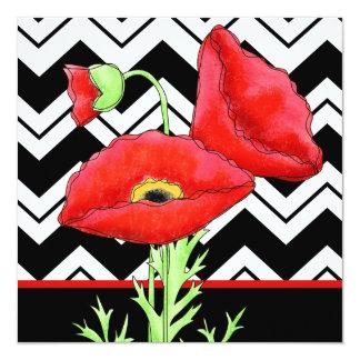 Black White Graphic Chevron ZizZag Red Poppy Black 5.25x5.25 Square Paper Invitation Card