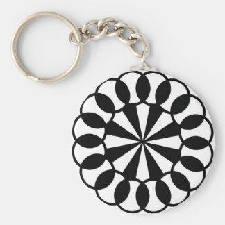 Black & White Graphic Circles Key Chain