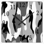 Black White Gray Camouflage Square Clock