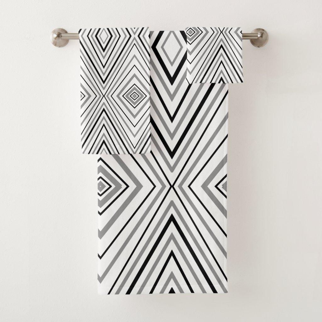 Black White Gray Chevron Pattern Bath Towel Set