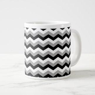 Black, White Gray Chevron Zigzag Jumbo Mugs