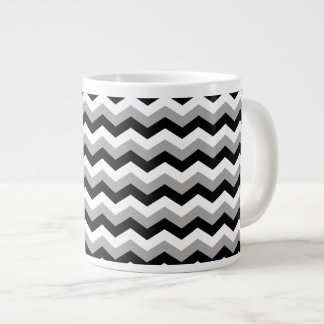 Black, White Gray Chevron Zigzag Large Coffee Mug