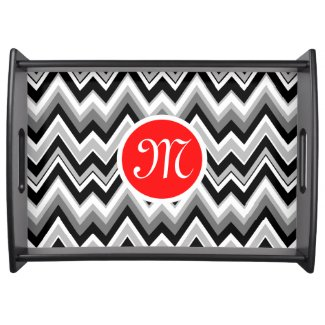 Black, White & Gray Chevron Zigzag Pattern 2 Serving Platter