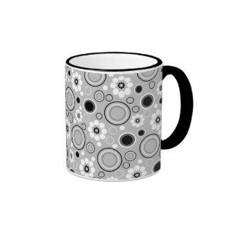 Black White Gray Circles and Flowers Ringer Mug