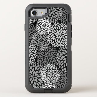 Black White Gray Dahlia Floral pattern OtterBox Defender iPhone 8/7 Case