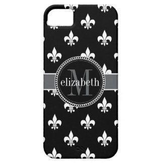 Black White Gray Fleur de Lis Monogram iPhone 5 Case