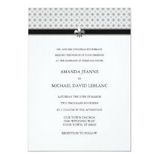 Black White Gray Fleur de Lis Pattern Wedding Card