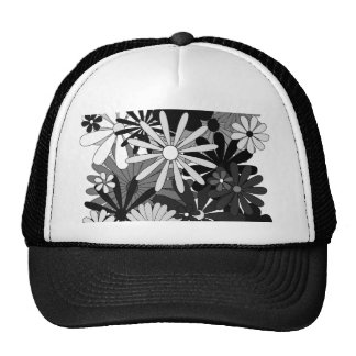 Black White Gray flowers floral gift Mother's Day Trucker Hat