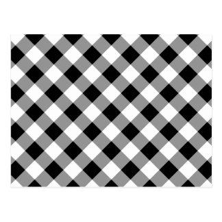 Black White Gray Gingham Pattern Postcard