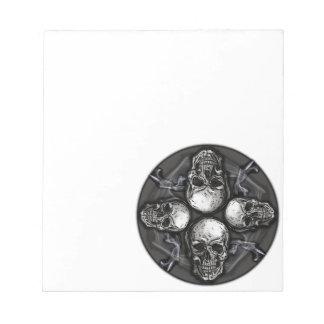 Black white gray gothic skulls notepad