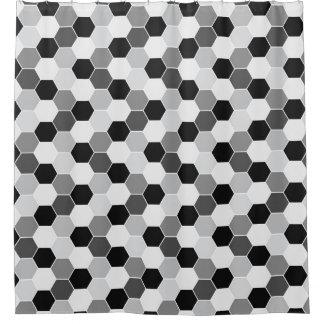 Black White Gray Honeycomb Pattern Shower Curtain
