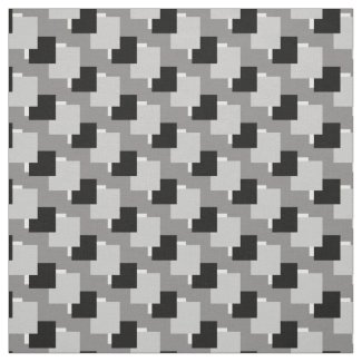 Black White Gray Monochrome Squares Pattern Print Fabric