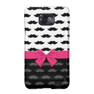 black white gray mustache stache hot pink bow galaxy SII cases