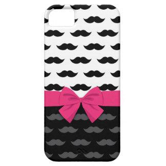 black white gray mustache stache hot pink bow iPhone SE/5/5s case