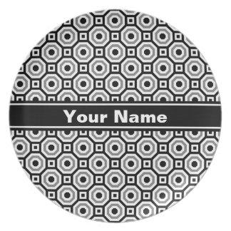 Black/White/Gray Nested Octagon Melamine Plate