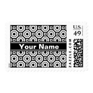 Black/White/Gray Nested Octagon Postage