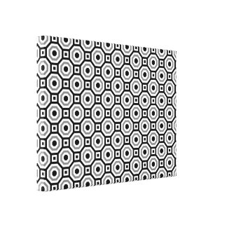 Black/White/Gray Nested Octagon Wrapped Canvas