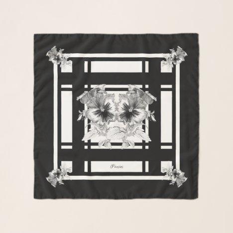 Black White Gray Pansies Drawing Chiffon Scarf