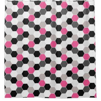 Black White Gray Pink Honeycomb Pattern Shower Curtain