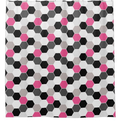 pink and black shower curtain. Black White Gray Pink Honeycomb Pattern Shower Curtain Trendy 19 Retro Curtains  Unique Collections
