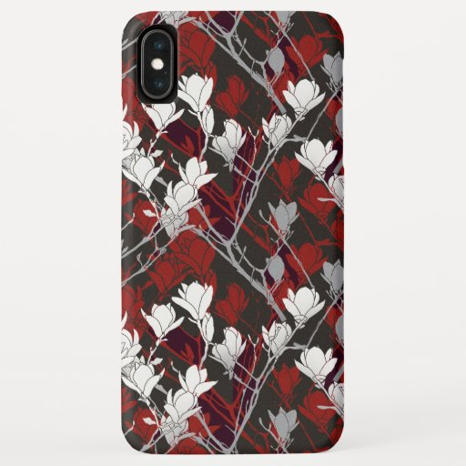 Black White Gray & Red Floral Design iPhone XS Max Case