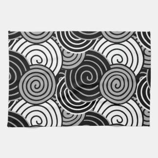 Black White Gray Spiral Design Pattern Hand Towel