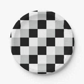 Black White Gray Squares Paper Plate