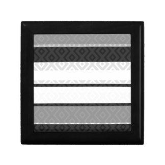 Black White Gray Stripes Diamond Geometric Pattern Gift Box