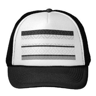 Black White Gray Stripes Diamond Geometric Pattern Trucker Hat