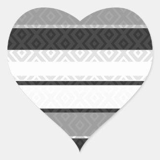 Black White Gray Stripes Diamond Geometric Pattern Heart Sticker