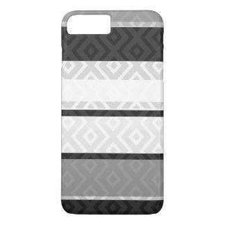 Black White Gray Stripes Diamond Geometric Pattern iPhone 7 Plus Case