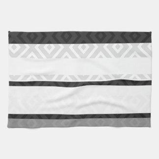 Black White Gray Stripes Diamond Geometric Pattern Kitchen Towels