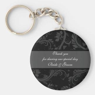 "Black white gray ""thank you"" ""wedding favors"" basic round button keychain"