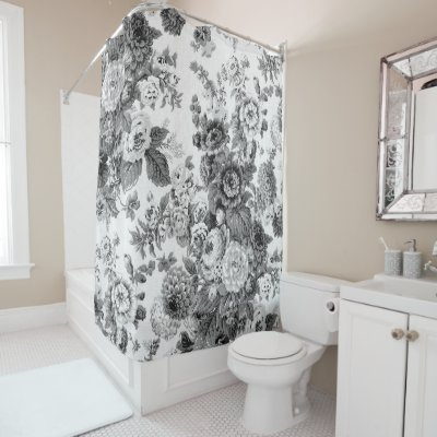 black toile shower curtain. black white floral just married wedding date shower curtain | zazzle.com toile