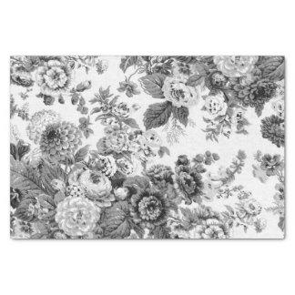 Black & White Gray Tone Vintage Floral Toile No.3 Tissue Paper