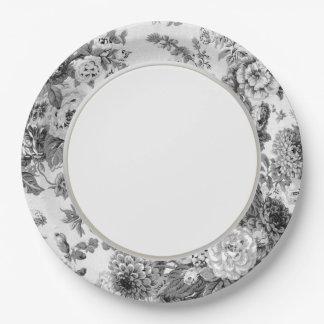 Black & White Gray Vintage Floral Toile No.3 Paper Plate