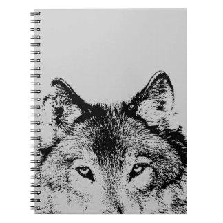 Black & White Gray Wolf Eyes Notebook