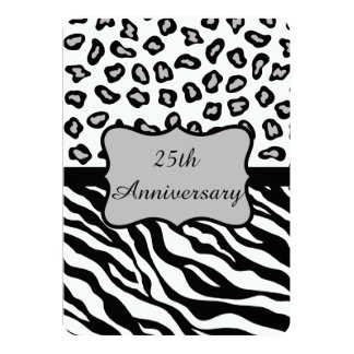 Black White Gray Zebra Leopard 25th Anniversary Card